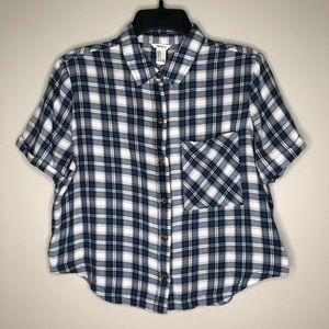 Forever 21 Plaid Top | Blue and White Button Down